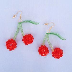 Beaded Cherry Earrings (FREE ADD-ON)